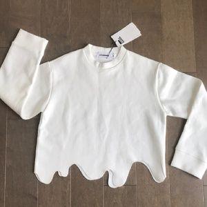 STYLE NANDA groovy wave hem crop sweater SM BNWT